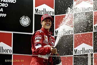 30 May 1999:  Ferrari's Michael Schumacher celebrates third place in the Formula One Spanish Grand Prix at the Circuit de Catalunya in Barcelona, Spain. Mandatory Credit: Michael Cooper /Allsport